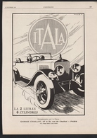 Pub 1927 Voiture Automobile ITALA  2 Litres 6 Cylindres Automobiles Voitures Dessin - Advertising