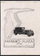 Pub 1928 Automobile HISPANO SUIZA Voiture Tacot Traction Automobiles Embleme Cigogne Bois Colombes - Publicités