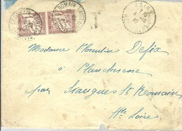 LETTER 1940  SIAUGUES -ST.ROMAIN   TAXE - Marcophilie (Lettres)
