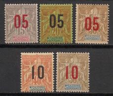 Nouvelle Calédonie - 1912 - N°Yv. 105 à 109 - Série Complète - Neuf * / MH VF - New Caledonia