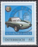 ÖSTERREICH  ** Alfa Romeo Spider - PM Personalized Stamp MNH - Autos