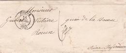 1856 PREPHILATELY PRECURSEUR ENVELOPPE CIRCULEE A ROUEN - BLEUP - 1853-1860 Napoléon III