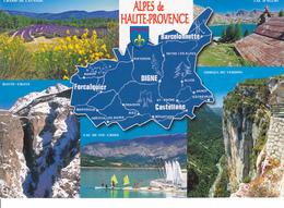 04 ALPES DE HAUTE PROVENCE - CARTE GEOGRAPHIQUE AEC MULTIVUES - Cartes Géographiques