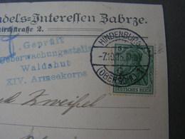 Zabre Karte 1915 Schlesien Hindenburg - Briefe U. Dokumente