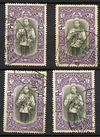 SIAM THAILAND 1912, Yvert 111, Roi Vajiravudh, 1 Valeur X 4 Exemplaires, Oblitérés / Used. R1628b - Thaïlande