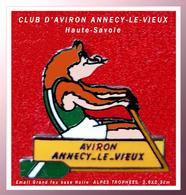 """SUPER PIN'S AVIRON : Club D'AVIRON D'ANNECY LE VIEUX (Hautes Savoie) émail Grand Feu Base Noire """"Alpes Trophées"""" 2,6X2,3 - Aviron"""