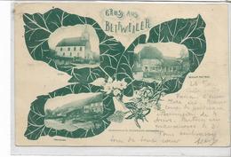 67 BETTWEILER . In Drei Photos , Wirschaft Peter Meyer , Kirche  , édit : E Heinhard , écrite En 1901 , état Extra - Autres Communes