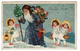 Carte Ancienne - Origine Russe - Père Noël Et Petits Anges - Father Christmas - Santa Claus - 2 Scans - Santa Claus