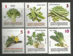 MK 2019-15 DEFINITIVE VEGETABLES, NORTH MACEDONIA, 1 X 6v, MNH - Gemüse