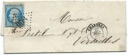 N° 22 BLEU NAPOLEON SUR LETTRE / CHARTRES POUR VERSAILLES / 27 DEC 1862 - Marcophilie (Lettres)