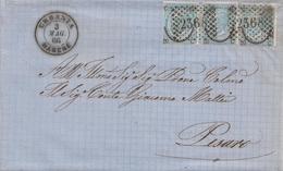 86- Lettera Con Testo Del 1866 Da Urbania A Pesaro Con 3 Valori Da Cent 20 Su 15 Ferro Di Cavallo 1 Tipo  . - 1861-78 Vittorio Emanuele II
