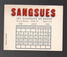 Buvard Sangsues Les Sangsues De Brière Calendrier Août 1957 - Produits Pharmaceutiques