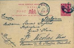 1902 NATAL , TARJETA ENTERO POSTAL CIRCULADA , PORT NATAL - ST. NICOLÁS , LLEGADA - África Del Sur (...-1961)