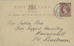 "1893 NATAL , TARJETA ENTERO POSTAL CIRCULADA , PIETERMARITZBURG - PINETOWN , MAT. "" G.P.O. / NATAL "" , LLEGADA - África Del Sur (...-1961)"