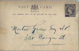 "1894 NATAL , TARJETA ENTERO POSTAL CIRCULADA , PIETERMARITZBURG , MAT. "" G.P.O. / NATAL "" , PRE IMPRESO - África Del Sur (...-1961)"