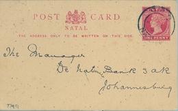 "1895 NATAL , TARJETA ENTERO POSTAL CIRCULADA , PIETERMARTIZBURG - JOHANNESBURG , PRE IMPRESO "" THE NATAL BANK LIMITED "" - África Del Sur (...-1961)"