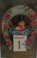 """""""Neujahr, Kinder, Hufeisen, Zylinder, Rosen, Januar"""" 1903 ♥  - Neujahr"""