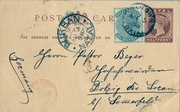 1898 NATAL , TARJETA ENTERO POSTAL CIRCULADA , PINETOWN - SOMERFELD , TRÁNSITO DE DURBAN Y LONDRES , FRANQUEO COMPLEMENT - África Del Sur (...-1961)