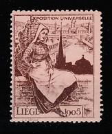 V-339 1905 Liege Exposition Universelle Vignette MNH** - Universal Expositions