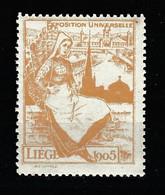 V-341 1905 Liege Exposition Universelle Vignette MNH** - Universal Expositions