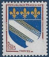 France Blasons N°1353** Troyes Sans Valeur Par Impression Incomplète RRR Signé Calves - Curiosa: 1960-69 Postfris