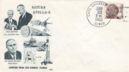 Apollo 5 Launch From Cape Kennedy, President Johnson & Dr. Hugh Dryden 1968 Cover - FDC & Conmemorativos