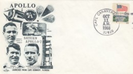 Apollo 7 Mission, Astronauts Eisele Schirra And Cunningham Illustration 1968 Cover - FDC & Conmemorativos