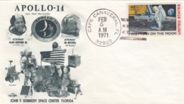 Apollo 14 Mission, Astronauts Shepard And Mitchell Illustrated 1971 Cover - FDC & Conmemorativos