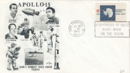 Apollo 15 Mission, Astronauts Scott, Worden And Irwin Illustrated 1971 Cover - FDC & Conmemorativos