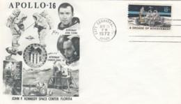 Apollo 16 Mission, Astronauts Duke And Young, Moon Rover Illustrated 1972 Cover - FDC & Conmemorativos