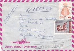 1982 COVER AIRMAIL- CIRCULEE PERU TO ARGENTINE REGISTERED - BLEUP - Peru