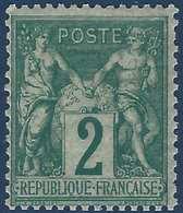 France Sage N°62* 2c Vert Très Frais RR Signé Behr, Jamet, Calves... - 1876-1878 Sage (Type I)