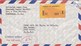1977 AIRMAIL COVER- CIRCULEE GUATEMALA TO USA REGISTERED MIXED STAMPS - BLEUP - Guatemala