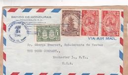 1948 COMMERCIAL COVER, ONLY FRONT-  BANCO DE HONDURAS. CIRCULEE TO USA, MIXED STAMPS - BLEUP - Honduras