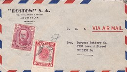 1948 COMMERCIAL COVER- BOSTON SA. CIRCULEE PARAGUAY TO USA. TIMBRE WITH BORD DU PLAQUE - BLEUP - Paraguay