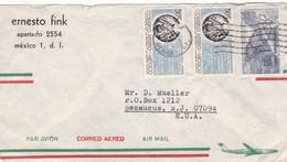 1965 COMMERCIAL COVER- ERNESTO FINK. CIRCULEE MEXICO TO USA. TIMBRE WITH BORD DU PLAQUE - BLEUP - Mexique