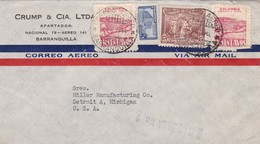 1946 COMMERCIAL COVER- CRUMP & CIA LTDA.. CIRCULEE COLOMBIA TO USA, MIXED STAMPS - BLEUP - Colombie