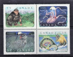 Canada 1990 Legendary Creatures Set As Block Of 4 MNH - 1952-.... Reign Of Elizabeth II