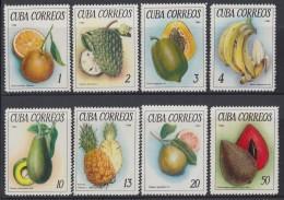1965.99 CUBA 1965 MNH. Ed.1248-55. FRUTAS FRUITS PIÑA PINNEAPLE ANON FRUTA BOMBA PLATANO AGUACATE MAMEY GUAYABA. - Cuba