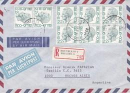 1983 AIRMAIL COVER TIMBRES UNIES- CIRCULEE BELGIE TO ARGENTINE, REGISTERED  - BLEUP - Belgium
