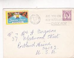 1965 COVER CINDERELLA: SEASONS CHEER. CIRCUEE BOLTON LANCS TO PORTLAND. BANDELETA PARLANTE  - BLEUP - Lettres & Documents