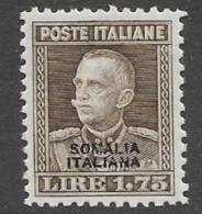 Somalia Scott # 103 Mint Hinged  Italy 1927 Stamp Overprinted, Expert Signed,1928, CV$77.50 - Somalia