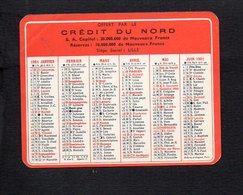 """1961 Calendrier De Poche """" Crédit Du Nord """" à Lille Et Lisieux ,bureau à Villers Sur Mer 14  >> Banque - Calendriers"""