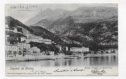 (RECTO / VERSO) MENTON EN 1903 - HOTEL D' ITALIE ET BELLE VUE - BEAU CACHET - CPA VOYAGEE - Menton