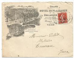 SEMEUSE 10C LETTRE ENTETE GRAND HOTEL DE PLAISANCE VICHY ALLIER 1909 POUR LE JURA - Marcophilie (Lettres)