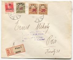 BARANYA / HUNGARY - 1920. Pecs, Registered  Local Issue Overprint, Military Censorship - Baranya