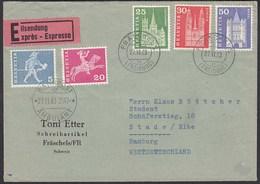 1963 Schweiz Bahnpost Ambulant Eilbrief Fräschels - Hamburg (23786 - Schweiz