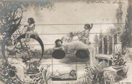 Surréalisme - 4 Cartes Pionnières  - Femmes,enfants Sur Portée - Notes De Musique- A.N. PARIS - Série 305 - 8 Scans - Femmes