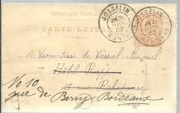 CARTE POSTAL 1902   JOSSELIN    MORBIHAN - Postal Stamped Stationery
