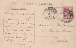 Maroc Yvert 12 Cachet TANGER 27/9/1911 Sur Carte Postale Pour Paris - Storia Postale